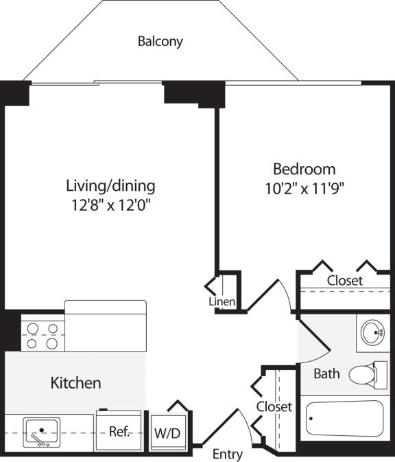 Floor Plan  1 Bedroom, 1 Bath 549 SF A1