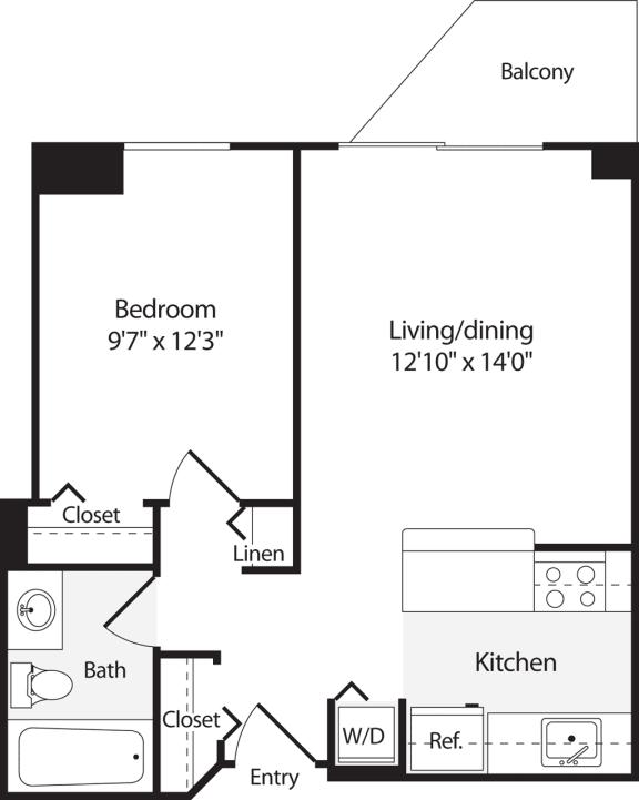 Floor Plan  1 Bedroom, 1 Bath 554 SF A2