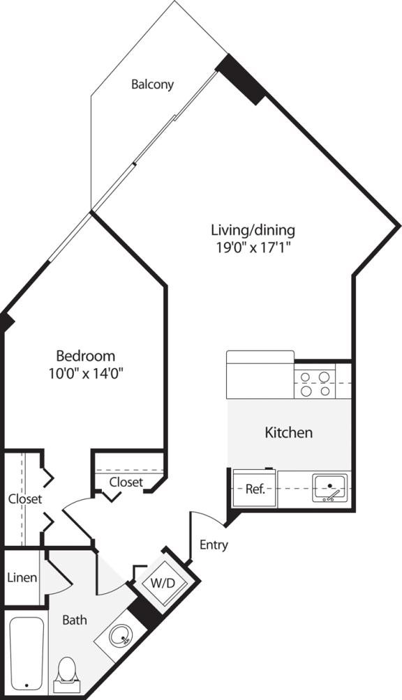 Floor Plan  1 Bedroom, 1 Bath 626 SF A3