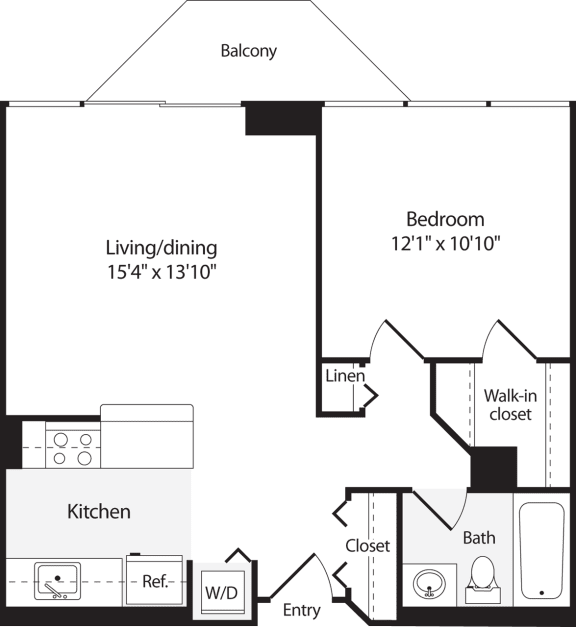 Floor Plan  1 Bedroom, 1 Bath 645 SF A4