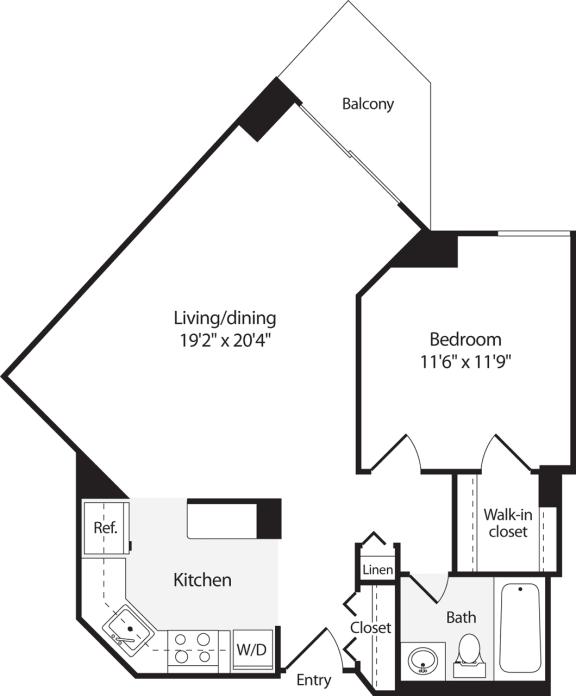 Floor Plan  1 Bedroom, 1 Bath 672 SF A5