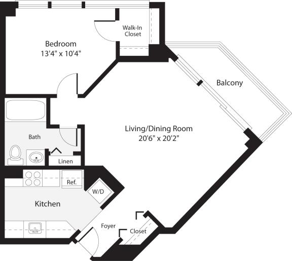 Floor Plan  1 Bedroom, 1 Bath 691 SF A7