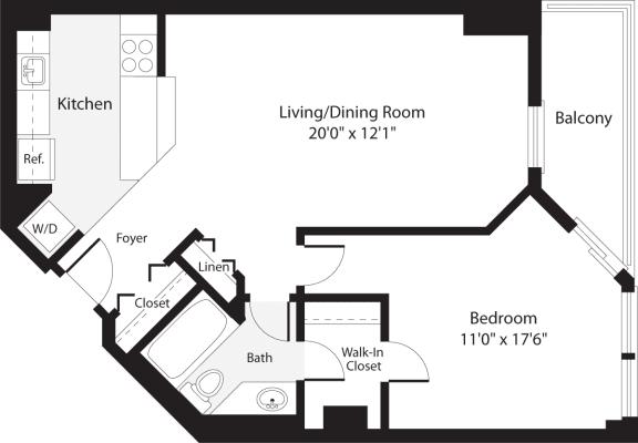Floor Plan  1 Bedroom, 1 Bath 692 SF A8