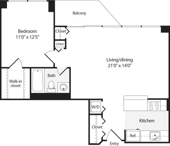 Floor Plan  1 Bedroom, 1 Bath 734 SF A9