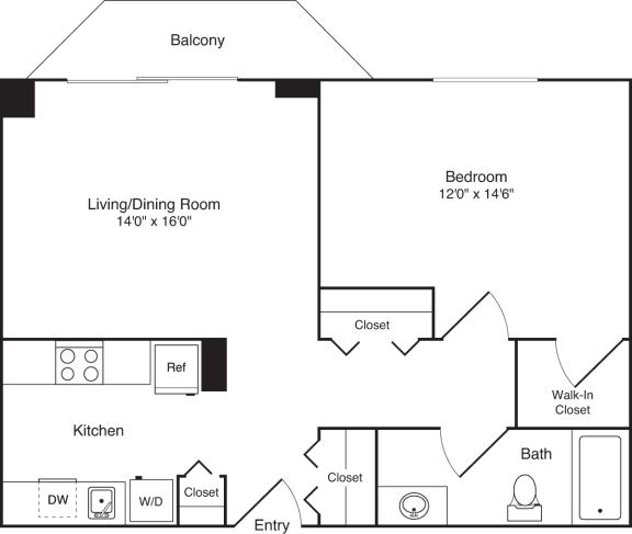 Floor Plan  1 Bedroom, 1 Bath 743 SF A10