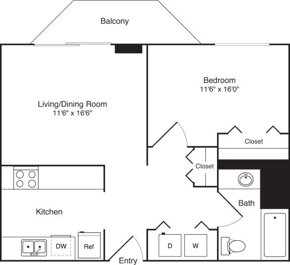 Floor Plan  1 Bedroom, 1 Bath 750 SF A11