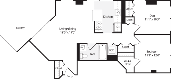 Floor Plan  2 Bedroom, 1 Bath 810 SF B2.1