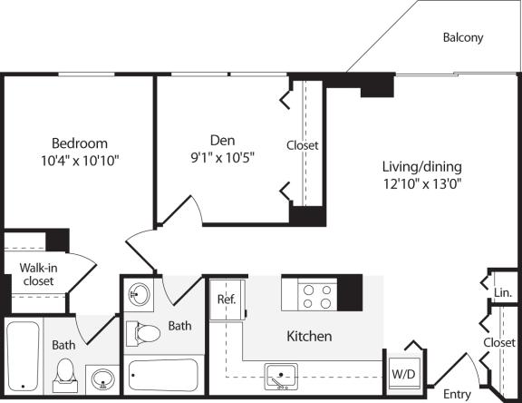 Floor Plan  2 Bedroom, 2 Bath 824 SF B3