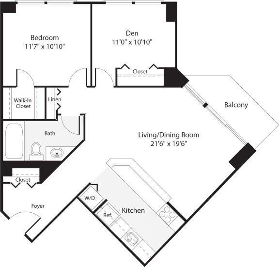 Floor Plan  2 Bedroom, 1 Bath 839 SF B4.1