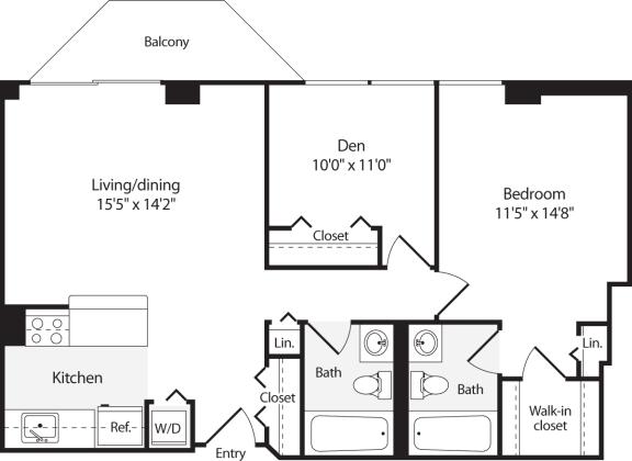 Floor Plan  2 Bedroom, 2 Bath 861 SF B5