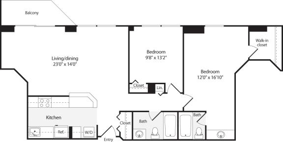 Floor Plan  2 Bedroom, 2 Bath 962 SF B6