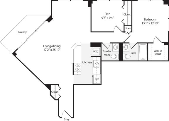 Floor Plan  2 Bedroom, 1.5 Bath 974 SF B7.1h