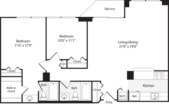 Floor Plan  2 Bedroom, 2 Bath 1013 SF B8