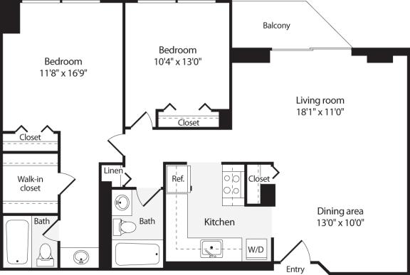 Floor Plan  2 Bedroom, 2 Bath 1014 SF B9