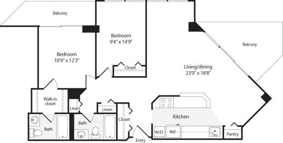 Floor Plan  2 Bedroom, 2 Bath 1023 SF B10