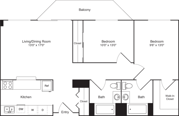 Floor Plan  2 Bedroom, 2 Bath 1047 SF B11