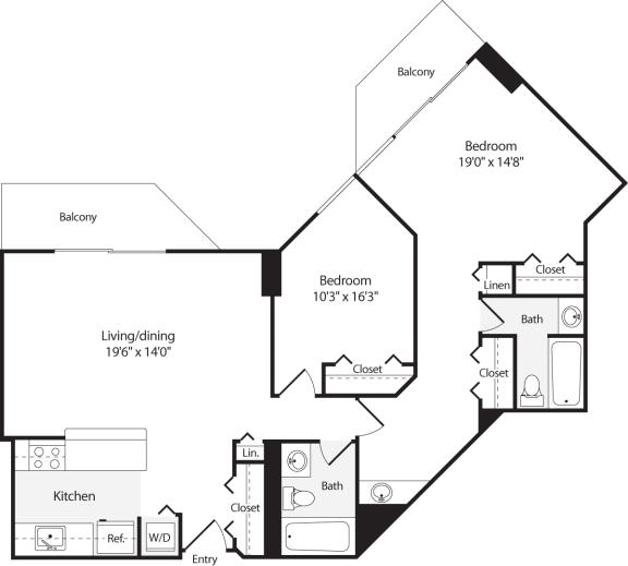 Floor Plan  2 Bedroom, 2 Bath 1063 SF B12