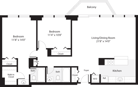 Floor Plan  2 Bedroom, 2 Bath 1064 SF B13