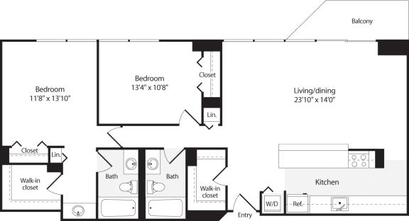 Floor Plan  2 Bedroom, 2 Bath 1203 SF B14