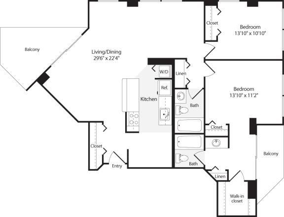 Floor Plan  2 Bedroom, 2 Bath 1215 SF B15