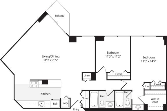 Floor Plan  2 Bedroom, 2 Bath 1263 SF B16