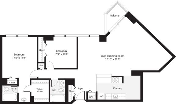 Floor Plan  2 Bedroom, 2 Bath 1278 SF B17