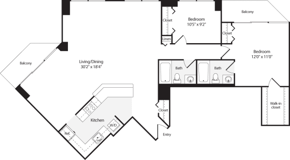 Floor Plan  2 Bedroom, 2 Bath 1338 SF B18