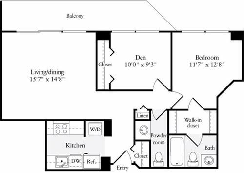 Floor Plan  2 Bedroom, 1.5 Bath 804 SF B1.1h