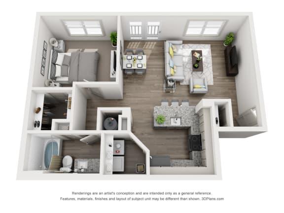 Floor Plan  White Oak Floor Plan 726SF 1X1