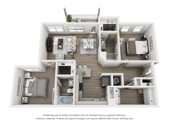 Floor Plan  Willow Floor Plan 1043 sf 2X2