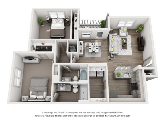 Floor Plan  Cedar Floor Plan 1165sf 2X2