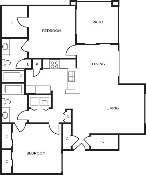 Floor Plan  Junction two bedroom two bathroom at Tempe Station, Tempe, 85281