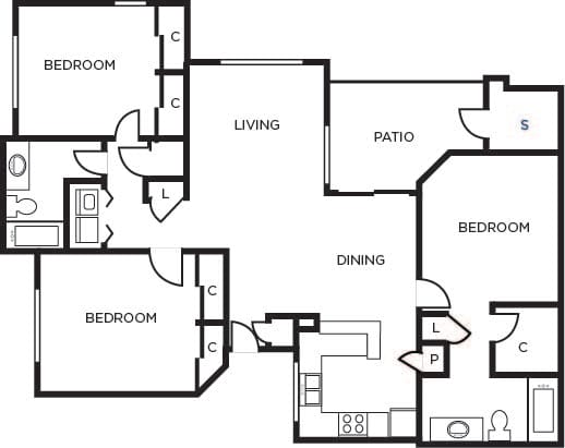 Floor Plan  District three bedroom two bathrooms  at Tempe Station, Tempe, Arizona