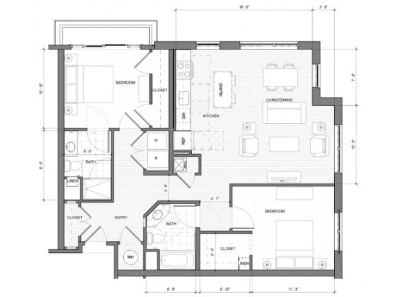 2 Bedroom Floor Plan| Merc