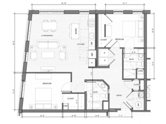 Floor Plan  2BR-Corner-B Floor Plan| Merc