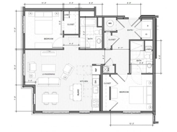 Floor Plan  2BR-Corner-C Floor Plan| Merc