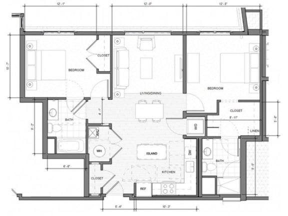 Floor Plan  2BR-F Floor Plan| Merc