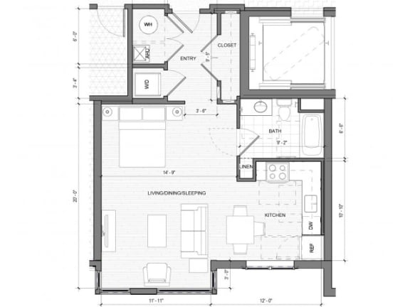 Studio A Floor Plan| Merc