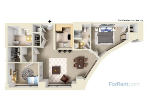 Two Bedroom Corner Floor Plan |Residences at Manchester Place