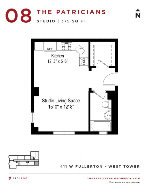 Group Fox - The Patricians - Studio Floor plan