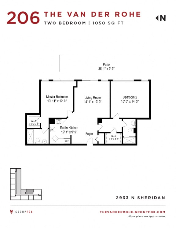 Group Fox - The Van Der Rohe - Two Bedroom Floor Plans