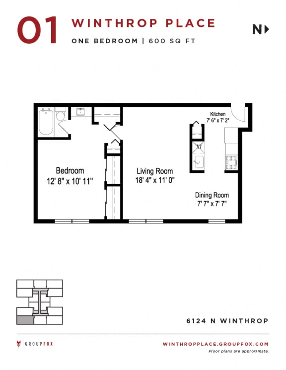 Winthrop Place - One Bedroom Floorplan