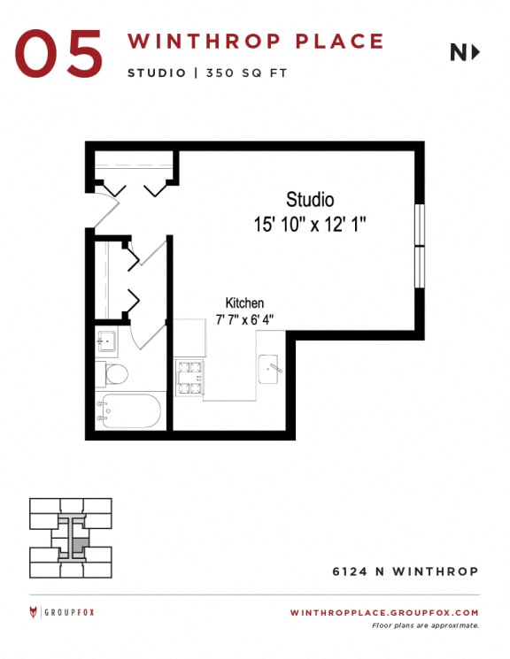 Winthrop Place - Studio Floorplan