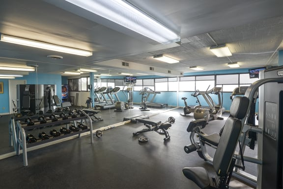 free weights in fitness center at Walnut Towers at Frick Park in Pittsburgh PA