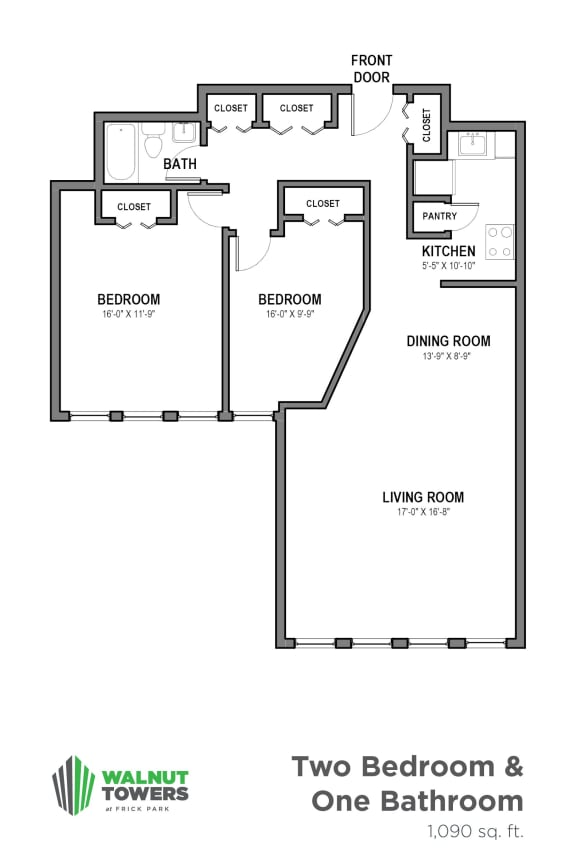 Floor Plan  One Bath Two Bedrooms, Walnut Towers at Frick Park, pet-friendly apartments in Pittsburgh, PA