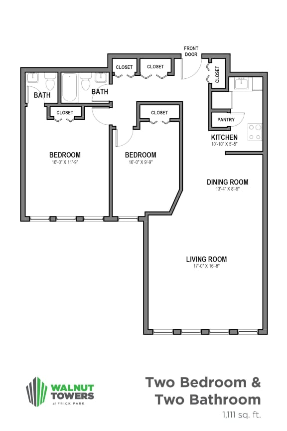Floor Plan  Furnished 2 Bedroom, Walnut Towers at Frick Park, pet-friendly apartments in Pittsburgh, PA