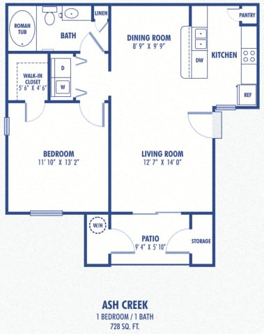 Floor Plan  Ash Creek 1 Bedroom