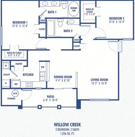 Floor Plan  Willow Creek 2 Bedroom