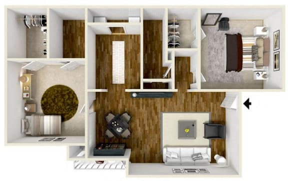Floor Plan  2 Bedroom/ 2 Bath
