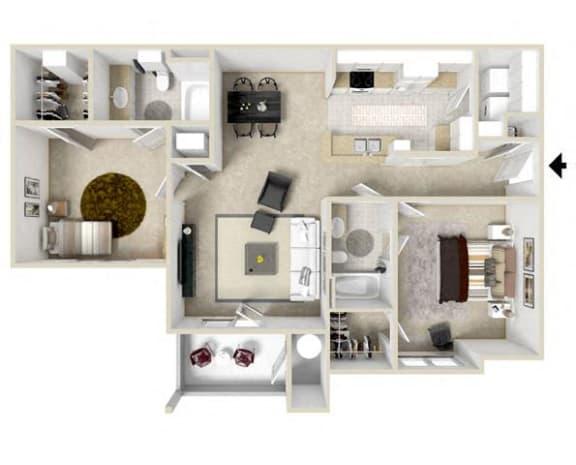 2 bedroom 2 bath Floor Plan at Charleston Apartment Homes, Mobile, 36695